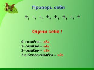 Проверь себя +, -, -, +, +, +, -, + 0- ошибок – «5» 1- ошибка – «4» 2- ошибки