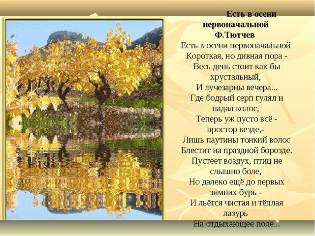 Есть в осени первоначальной Ф.Тютчев Есть в осени первоначальной Короткая, н...