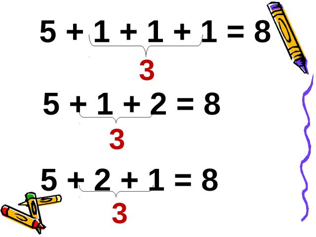 5 + 2 + 1 = 8 3 3 5 + 1 + 1 + 1 = 8 5 + 1 + 2 = 8 3