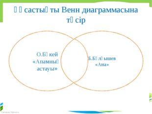 Ұқсастықты Венн диаграммасына түсір О.Бөкей «Апамның астауы» Б.Бұлқышев «Ана»