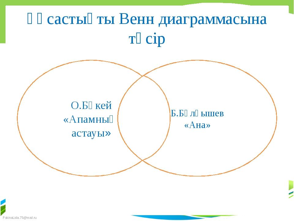 Ұқсастықты Венн диаграммасына түсір О.Бөкей «Апамның астауы» Б.Бұлқышев «Ана»...