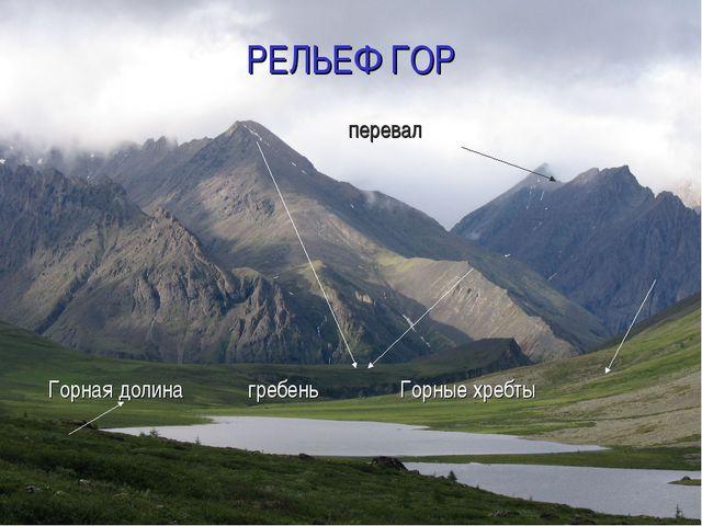 РЕЛЬЕФ ГОР перевал Горная долина гребень Горные хребты
