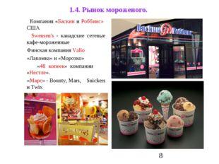 1.4. Рынок мороженого. Компания «Баскин и Роббинс» США Swensen's - канадские