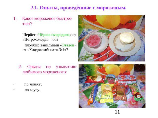 2.1. Опыты, проведённые с мороженым. 1. Какое мороженое быстрее тает? Щербет...