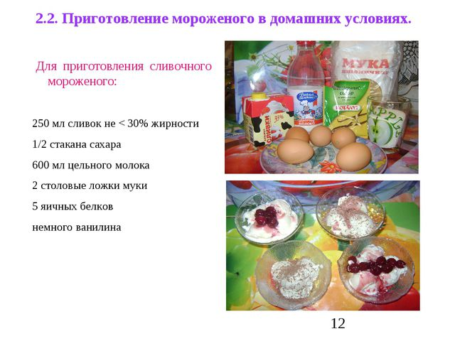 2.2. Приготовление мороженого в домашних условиях. Для приготовления сливочно...