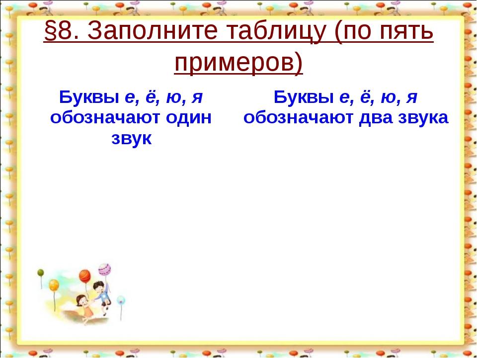 §8. Заполните таблицу (по пять примеров) http://aida.ucoz.ru