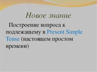 Новое знание Построение вопроса к подлежащему в Present Simple Tense (настоящ