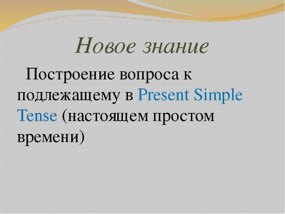 Новое знание Построение вопроса к подлежащему в Present Simple Tense (настоящ...