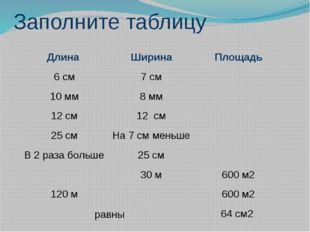 Заполните таблицу равны Длина Ширина Площадь 6 см 7 см 10 мм 8 мм 12 см 12 см