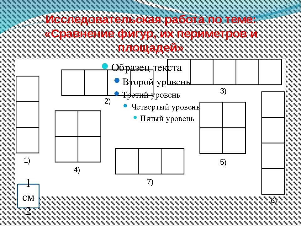 Исследовательская работа по теме: «Сравнение фигур, их периметров и площадей»...