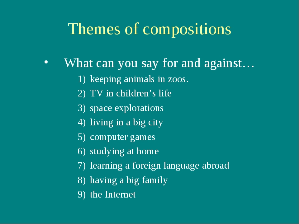 Themes of compositions What can you say for and against… keeping animals in z...