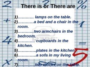 There is or There are ………… lamps on the table. …………a bed and a chair in the