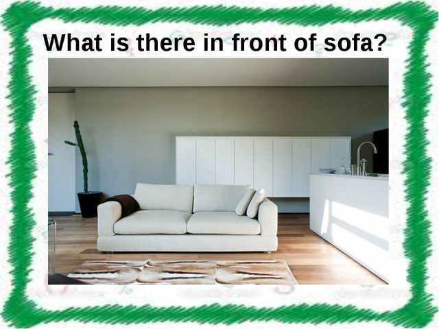 What is there in front of sofa?