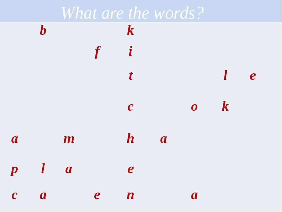 What are the words?  b k   f i   t l e   c o k a m h a  p l a e  c a...
