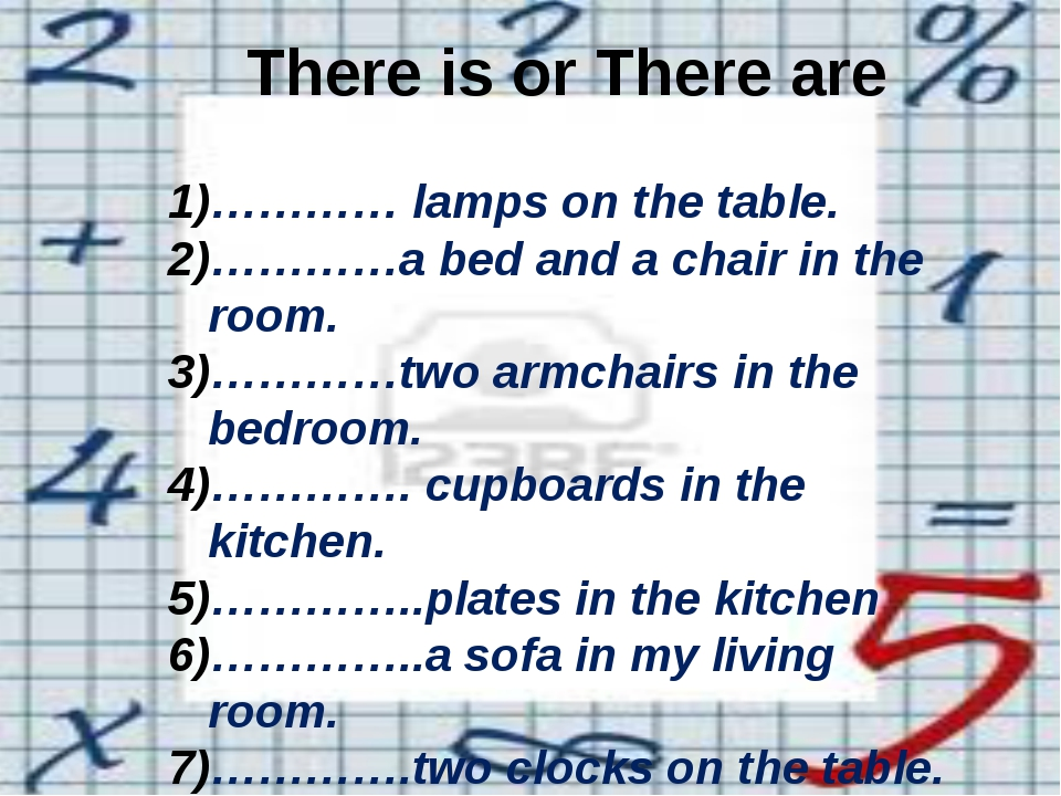 There is or There are ………… lamps on the table. …………a bed and a chair in the...