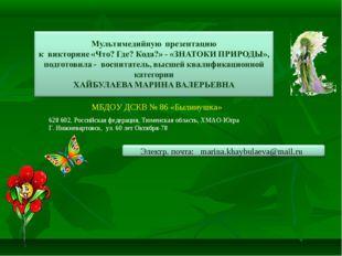 МБДОУ ДСКВ № 86 «Былинушка» 628602, Российская федерация, Тюменская область,