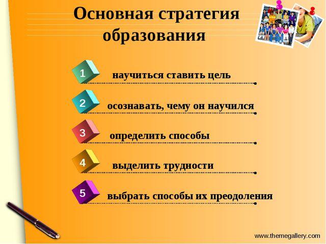 Основная стратегия образования 4 научиться ставить цель 1 2 3 5 осознавать, ч...