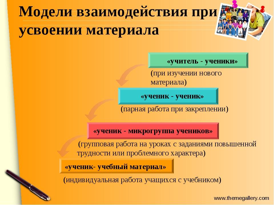 Модели взаимодействия при усвоении материала «ученик - ученик» «учитель - уче...