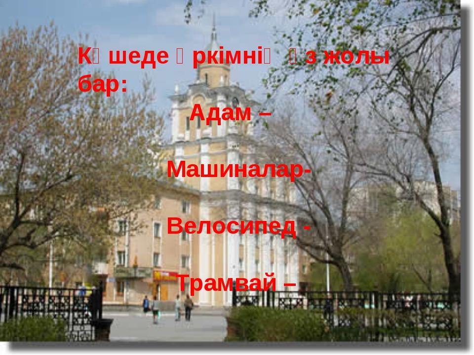 Көшеде әркімнің өз жолы бар: Адам – Машиналар- Велосипед - Трамвай –