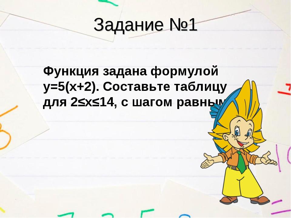 Задание №1 Функция задана формулой у=5(х+2). Составьте таблицу для 2≤х≤14, с...