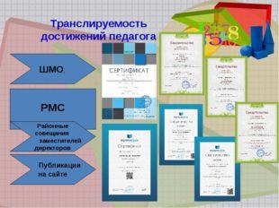 Транслируемость достижений педагога ШМО, РМС Районные совещания заместителей