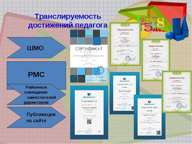 Транслируемость достижений педагога ШМО, РМС Районные совещания заместителей...