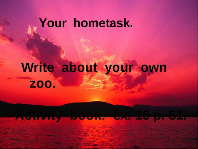 Your hometask. Write about your own zoo. Activity book: ex. 16 p. 51.