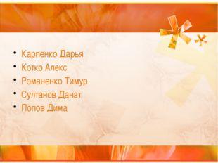 Карпенко Дарья Котко Алекс Романенко Тимур Султанов Данат Попов Дима