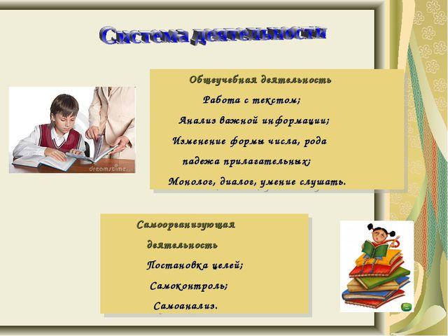 Общеучебная деятельность Работа с текстом; Анализ важной информации; Изменен...