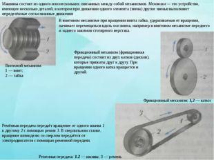 Ременная передача: 1.2 — шкивы; 3 — ремень Машины состоят из одного или неско