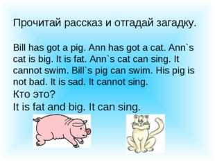 Прочитай рассказ и отгадай загадку. Bill has got a pig. Ann has got a cat. An