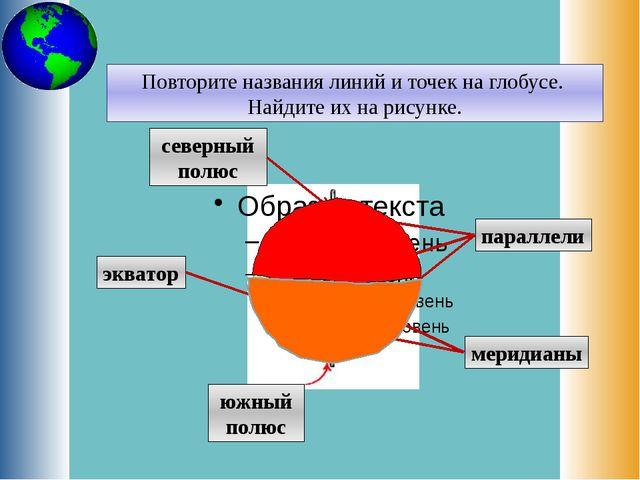 Повторите названия линий и точек на глобусе. Найдите их на рисунке. северный...