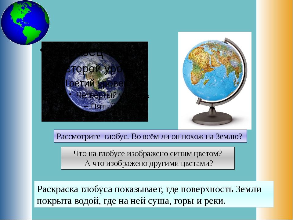 Рассмотрите глобус. Во всём ли он похож на Землю? Что на глобусе изображено с...