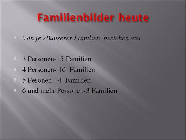 Von je 28unserer Familien bestehen aus 3 Personen- 5 Familien 4 Personen- 16...