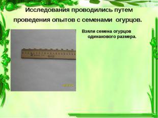 Исследования проводились путем проведения опытов с семенами огурцов. Взяли се
