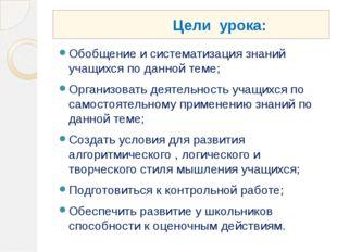 Цели урока: Обобщение и систематизация знаний учащихся по данной теме; Орган