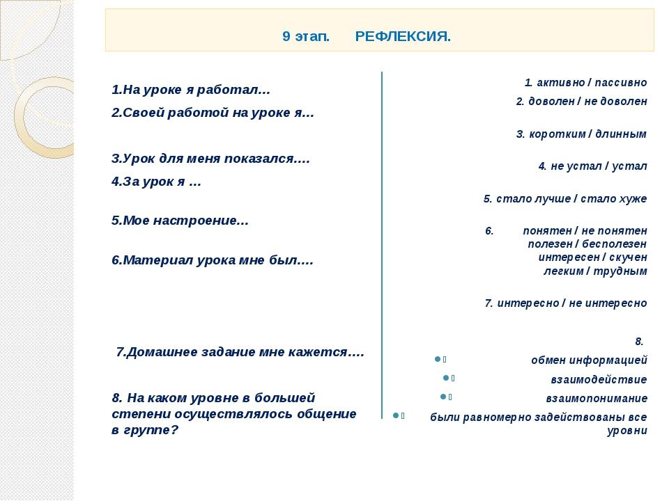 9 этап. РЕФЛЕКСИЯ. 1.На уроке я работал… 2.Своей работой на уроке я… 3.Урок...