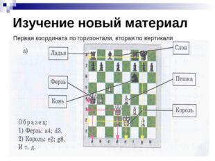 Изучение новый материал Первая координата по горизонтали, вторая по вертикали