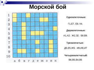 Морской бой Одноклеточные: Двухклеточные: Трехклечетые: Г1,Е7, Е9, К4. А1,А2;