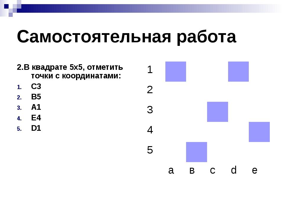 Самостоятельная работа 2.В квадрате 5х5, отметить точки с координатами: С3 В5...