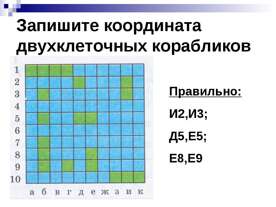 Запишите координата двухклеточных корабликов Правильно: И2,И3; Д5,Е5; Е8,Е9