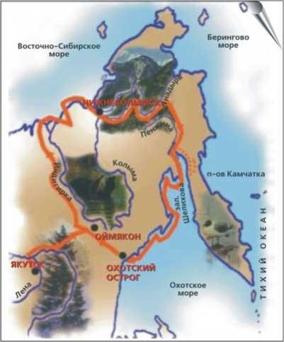 Карта-схема походов М. Стадухина в 1641–1659 годах