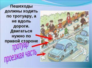 Пешеходы должны ходить по тротуару, а не вдоль дороги. Двигаться нужно по пра
