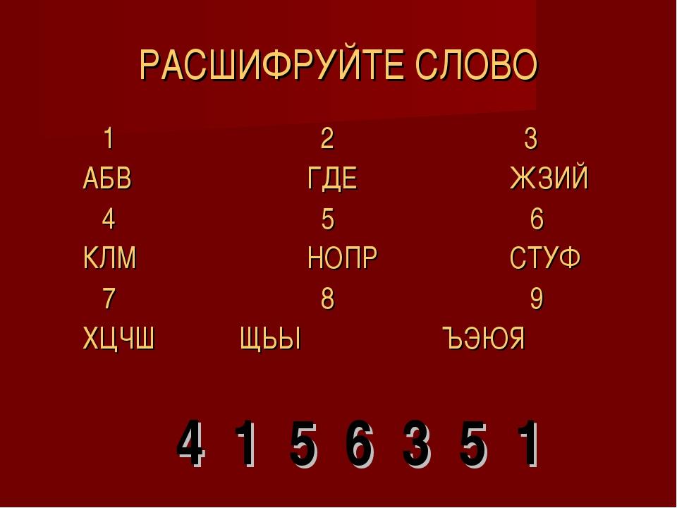 РАСШИФРУЙТЕ СЛОВО 1 2 3 АБВГДЕЖЗИЙ 4  5 6 КЛМНОПРСТУ...