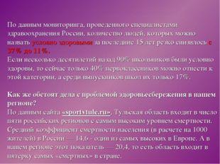 По данным мониторинга, проведенного специалистами здравоохранения России, кол