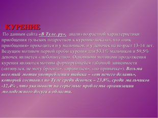 КУРЕНИЕ По данным сайта «В Туле. ру», анализ возрастной характеристики п