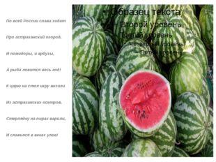 По всей России слава ходит Про астраханский огород, И помидоры, и арбузы, А