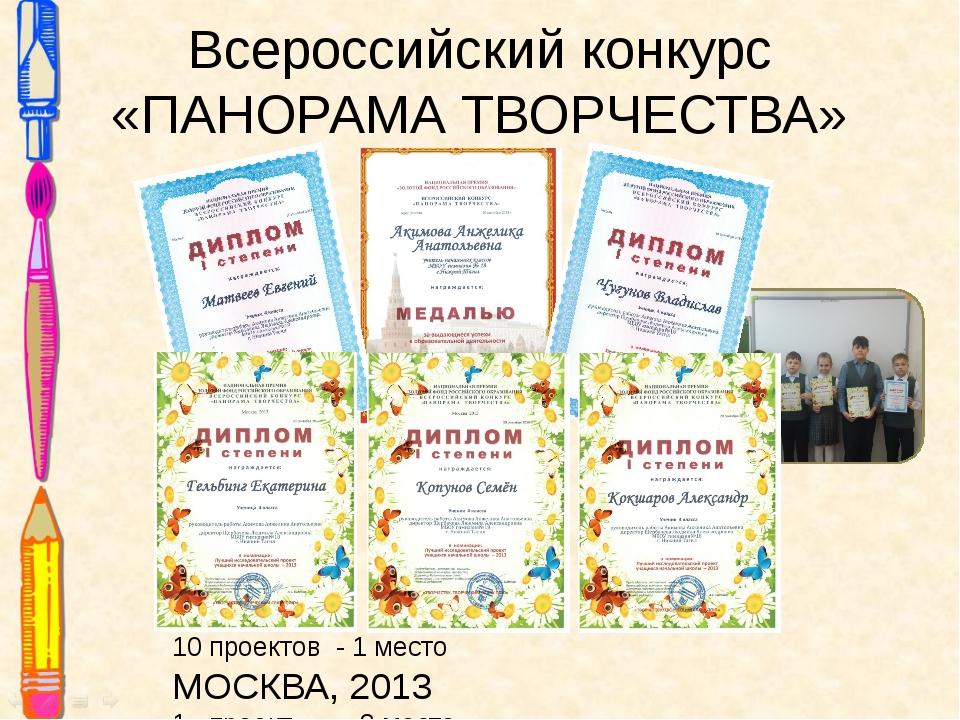 10 проектов - 1 место МОСКВА, 2013 1 проект - 2 место Всероссийский конкурс «...