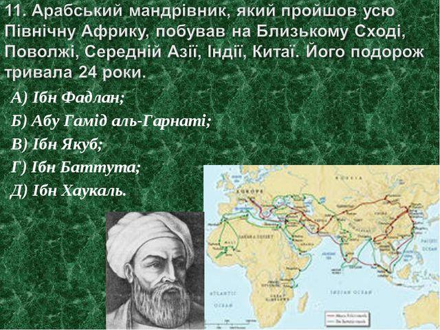 А) Ібн Фадлан; Б) Абу Гамід аль-Гарнаті; В) Ібн Якуб; Г) Ібн Баттута; Д) Ібн...
