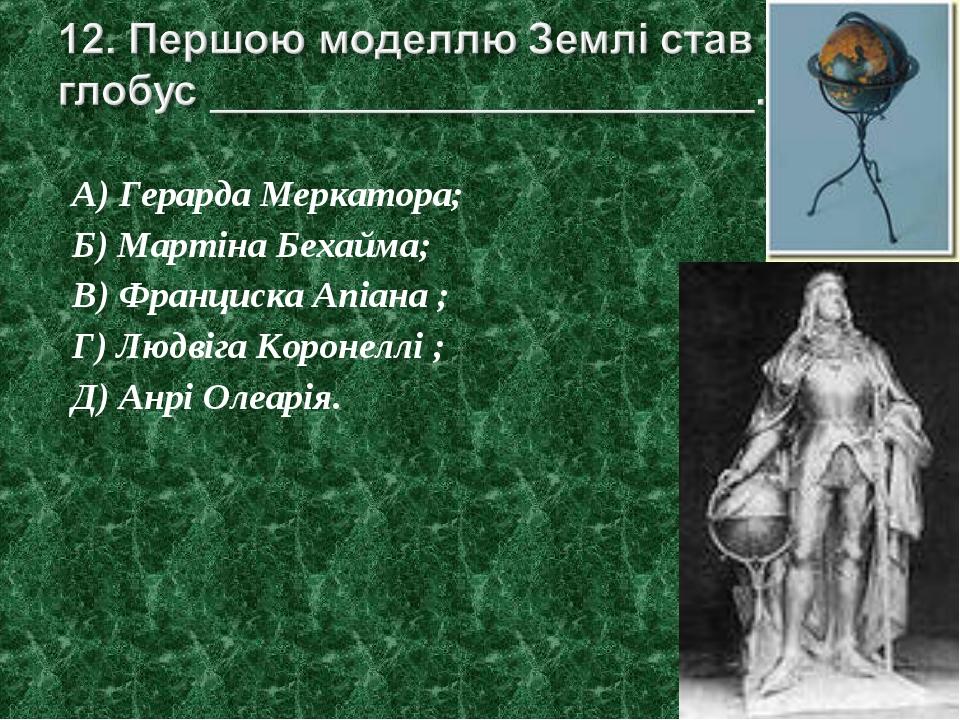 А) Герарда Меркатора; Б) Мартіна Бехайма; В) Франциска Апіана ; Г) Людвіга Ко...